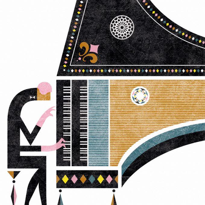 Piano, Musika. Lamina A5. Detalle