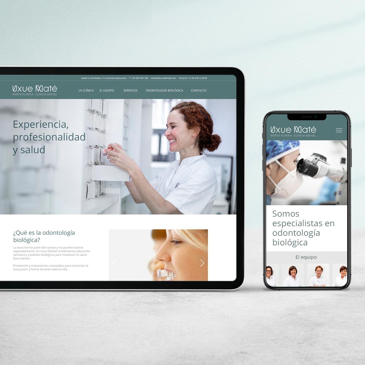 Clínica Dental Uxue Mate, página web